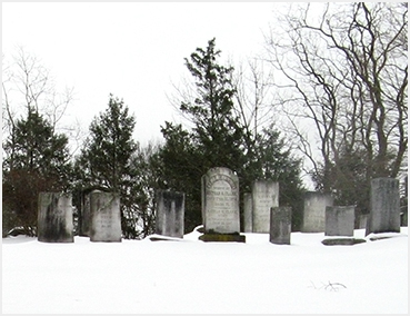 Graveyard in snow.